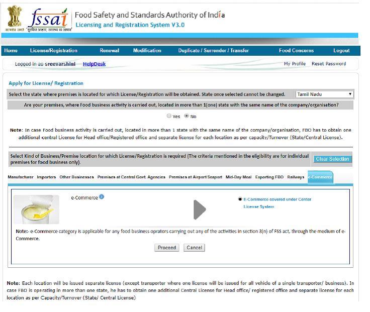 FSSAI License for ecommerce company