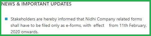 Nidhi Company Form